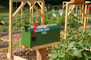 Mailbox sign for Gibsonville Community Garden