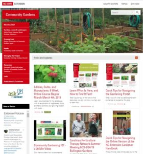 Screen shot of the landing page for NC Community Garden Portal